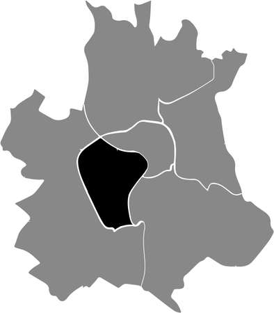 Black location map of the Toulousain Sector 2 - Toulouse Rive gauche district inside the French regional capital city of Toulouse, France
