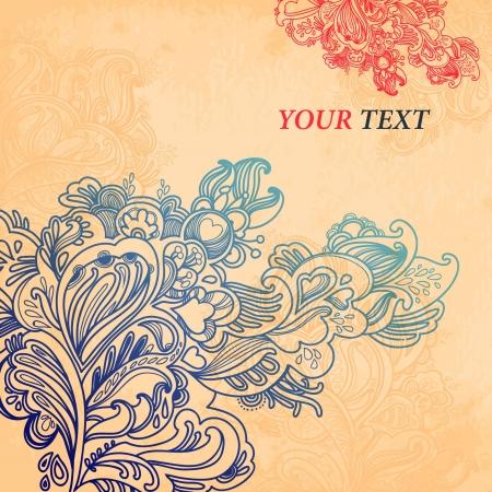Résumé ornement floral sur fond de détails nombreux et excellents pour votre carte de voeux Banque d'images - 18487386