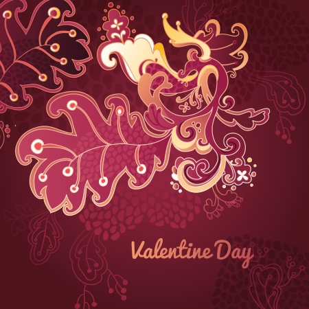 Hand Drawn floral vintage ornaments with flowers. vector valentine day background Vector