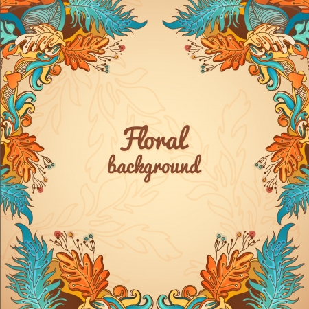 Colorful decorative floral background  fantastic flowers and lines Vector