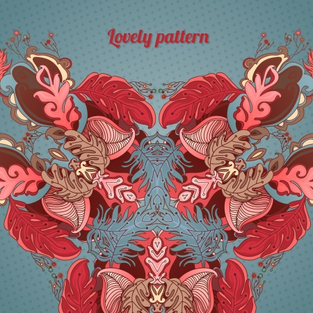 Colorful decorative floral background  fantastic flowers and lines Illustration