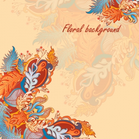 Abstract floral ornament with many details  Excellent background for your greeting card