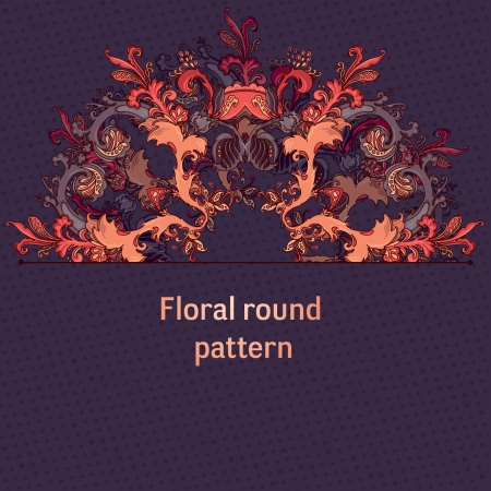 Hand Drawn floral vintage ornaments with flowers  vector purpur background Illustration