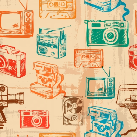 vector seamless retro texture Photo   Video Equipment Illustration
