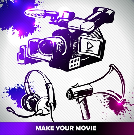 film, camera and equipments make your movie Vector