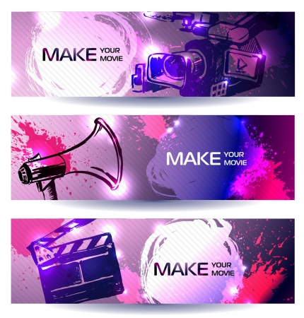 film, camera and equipments banners  make your movie Vector