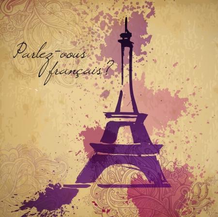 paris vintage: Elegancia grunge salpicaduras ilustración de la torre Eiffel y la caligrafía