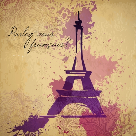 Grunge elegance ink splash illustration of Eiffel tower and calligraphy