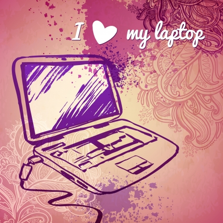 good s: laptop for girls  vector sketch on a pink background