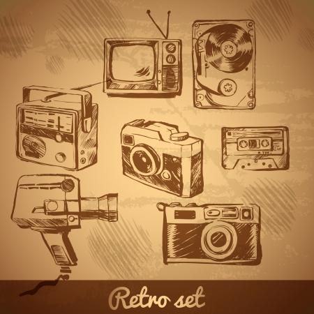 stílus: vektor, retro beállított Fotó Videó berendezések