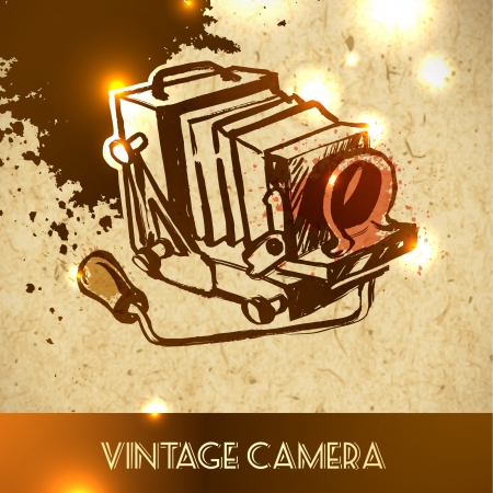 vintage binoculars - vector illustration sketch on paper background Vector