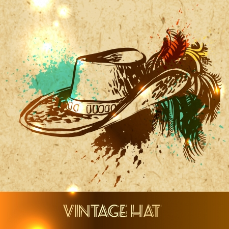 femine: Girl hat with peacock feather - vector illustration sketch on paper background Illustration