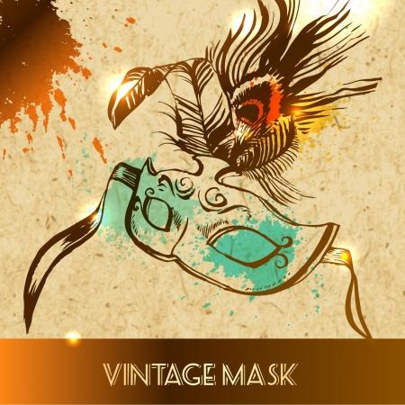 carnival mask: vector illustration sketch on paper background