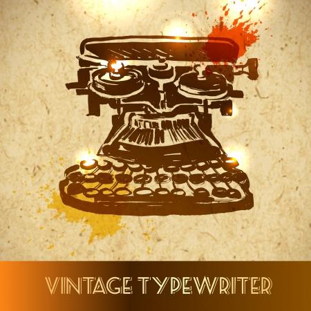 m�quina de escribir vieja: prism�ticos antiguos - Bosquejo de la ilustraci�n del vector en fondo de papel