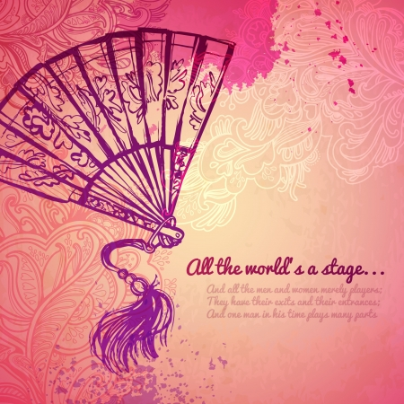 theatre costumes: vintage fan pink  background Illustration