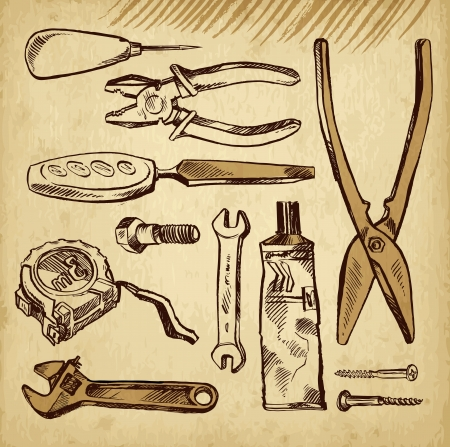 serrucho: Herramientas scetch establecidos en un fondo de papel