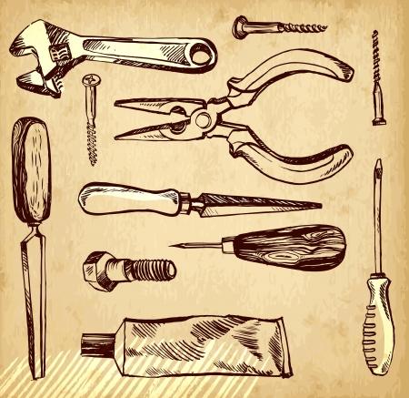 Tools vector sketch set on a paper background Illustration