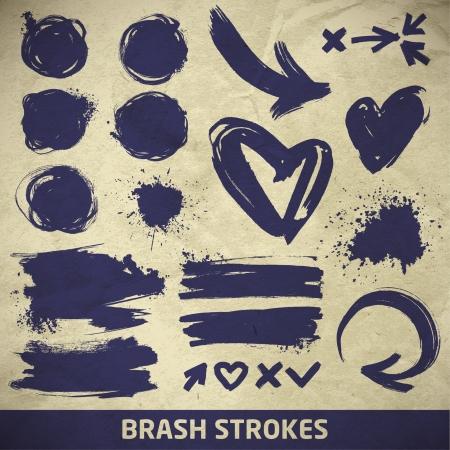 ink arrows, splashes and simbols on a paper background. brush stroke Ilustração