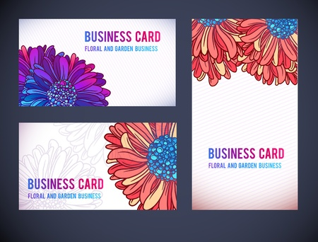 namecard: Colorful Horizontal Business floral  Cards