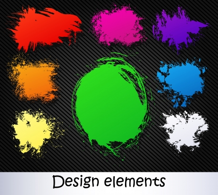 vector elements on a black background. brush stroke Stock Vector - 19286629