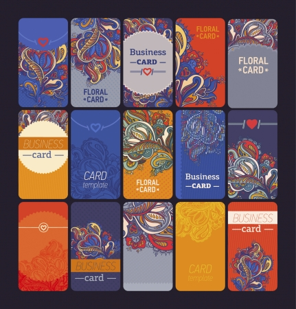 call card: set of colorful vertical business cards in different styles
