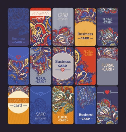 set of colorful vertical business cards in different styles Vector