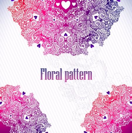 Dibujado a mano adornos florales del vintage con flores de fondo vector