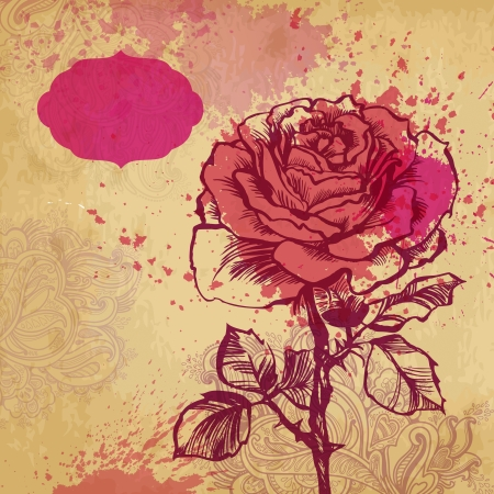 card with vector stylized rose  illustration drawn with ink and brush  texture of paper and blots Stock Vector - 20135220