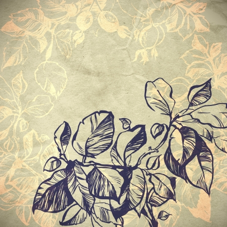 foliage background illustration  the leaves are painted with ink and brush  Vector
