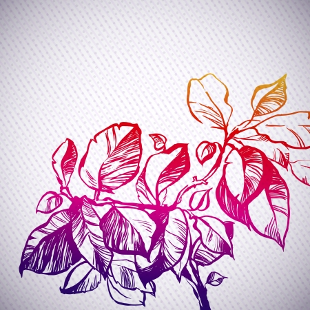 foliage plant rainbow background illustration  the leaves are painted with ink and brush  decorative dots and stripes Vector