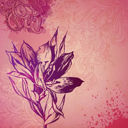 ornamental plant flower card. illustration drawn with ink and brush. texture of paper and blots. place for your text Stock Vector - 20133719