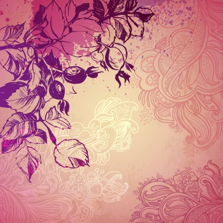 decorative background plant foliage and wild rose. illustration drawn with ink and brush. texture of paper and blots. place for your text Vector