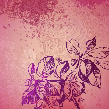 decorative background foliage plant. illustration drawn with ink and brush. texture of paper and blots. place for your text Vector
