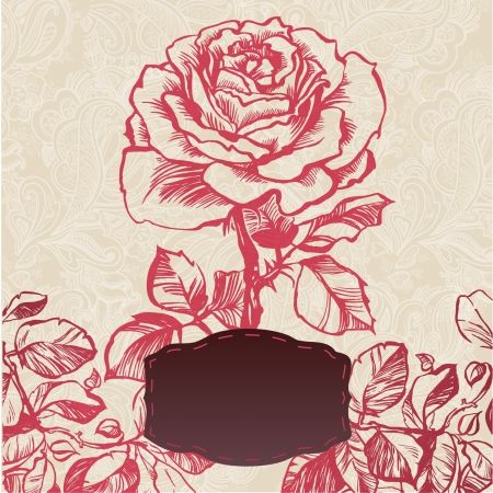ornamental flower flower card  illustration drawn with ink and brush  texture of paper and blots  place for your text Stock Vector - 20663939
