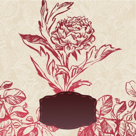 illustration of decorative plant flower. illustration drawn with ink and brush. texture of paper and blots Stock Vector - 20133891