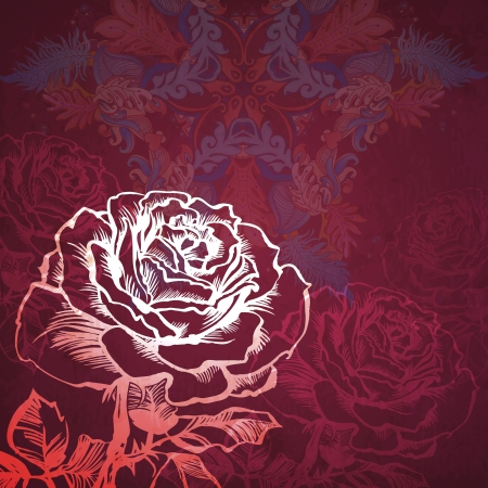 card with stylized rose. illustration drawn with ink and brush. texture of paper and blots