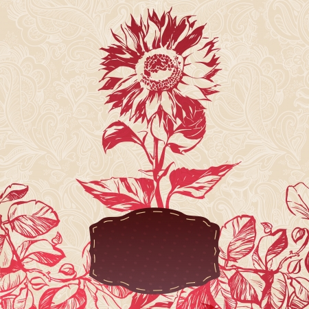 ornamental sunflower flower card  illustration drawn with ink and brush  texture of paper and blots  place for your text