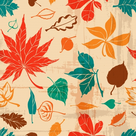 seamless autumn leaf pattern  paper background  Vector