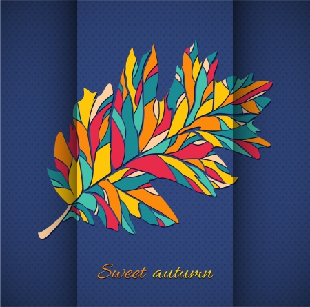 autumn leaf illustration  autumn leaf on a background of folded paper and polka dot pattern Stock Vector - 21014486