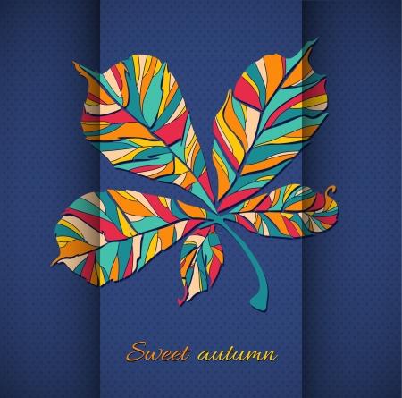 autumn leaf illustration  autumn leaf on a background of folded paper and polka dot pattern