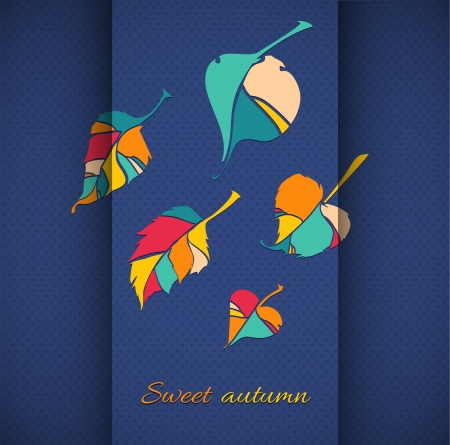 autumn leaf illustration  autumn leaf on a background of folded paper and polka dot pattern Stock Vector - 21014510