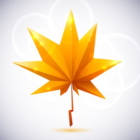 Autumn leaf of a tree origami. The folded colored paper on a white background. Glowing stars and stripes in the background. Vector
