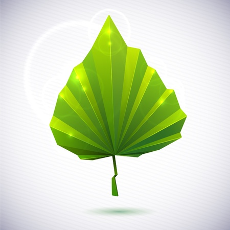Autumn leaf of a tree origami. The folded colored paper on a white background. Glowing stars and stripes in the background. Illustration