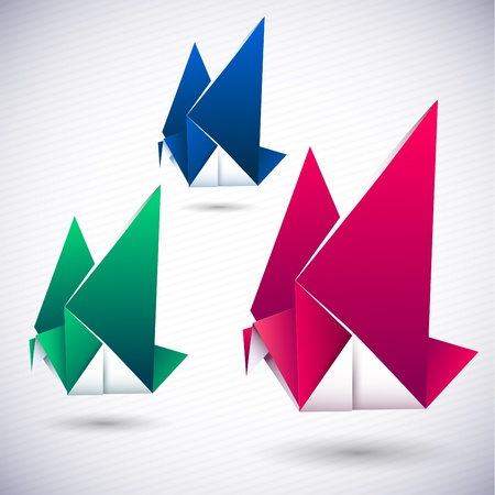 Paper origami bird symbolic vector illustration