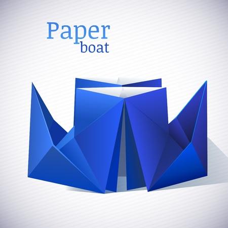 vector origami boat Vector