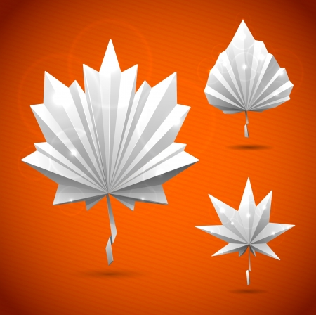 Autumn leaf of a tree origami  The folded colored paper on a white background  Glowing stars and stripes in the background  Vector