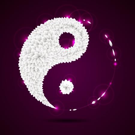 yin y yan: Ying yang símbolo de la armonía y el equilibrio de papel origami deja ilustración Vectores