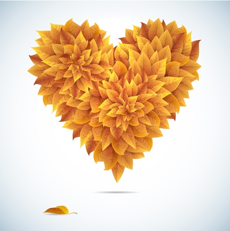 Autumn love heart leaves  Colored heart on white background  Vector