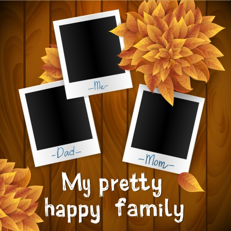 photo album page: illustration of three blank retro photo frames over white background