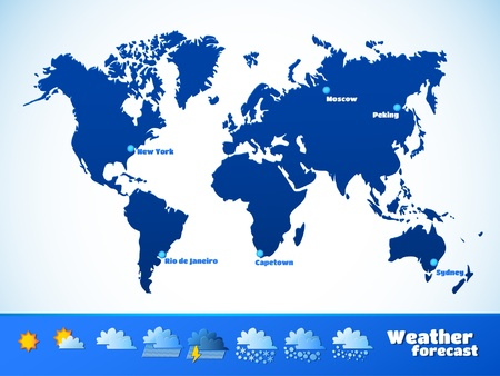 weather forecast vector illustration  map of the continents of the Earth  aspect ratio of 3 4 illustrations  TV format Vector